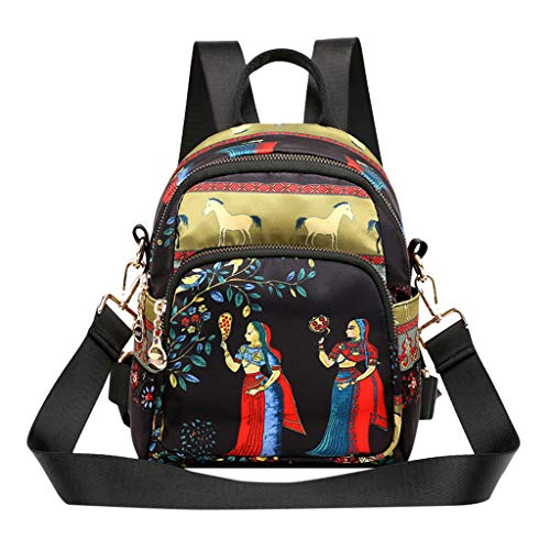 DDKK bags Hot New Nylon Fabric Ethnic Backpacks-Women's Printed Waterproof Shoulders Student School Bags-Classic Carry-On Travel Backpack for Everyday ()