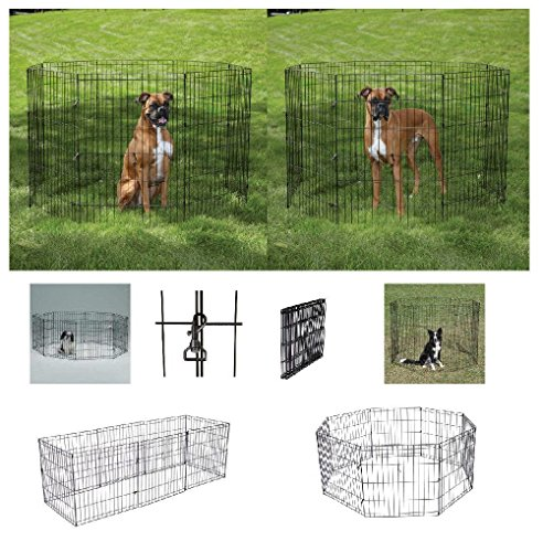Large Affordable Exercise Pens For Dogs & Pets 42'' Black Wire Ex Pen Play Yard by Defonia Petsupplies