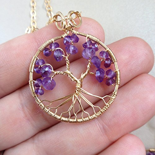 Gold Amethyst Tree Of Life Pendant Necklace, 4th Anniversary, February Birthstone, Aquarius Pisces