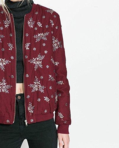 Zara rojo Burgundy chaqueta de hípica para niños Blazer diseño con flores bordadas Bomber tamaño de la funda de: pequeño: Amazon.es: Ropa y accesorios
