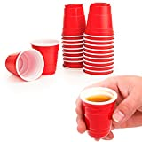 120 Red Cups 2 fl oz Plastic Shot Glasses Mini Disposable Barware Glasses