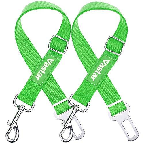 Vastar 2 Packs Adjustable Pet Dog Cat Car Seat Belt Safety Leads Vehicle Seatbelt Harness, Fluorescence Green