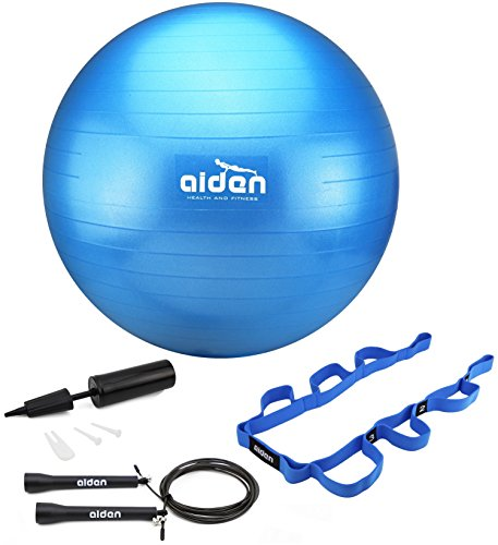 Rope Assortment (OLIVIA & AIDEN Exercise Ball Set- Includes Yoga Ball, Pump, Exercise Jump Rope (Speed Rope) and Stretch Band - Get Trim, Fit and Healthy With This Home Workout Set)