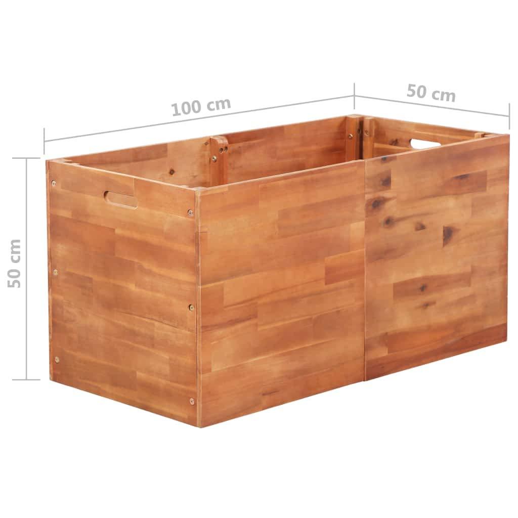 tidyard - Jardinera de Madera de Acacia, 200 × 100 × 50 cm ...