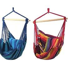 Sunnydaze Hanging Hammock Swing with Two Cushions (Set of 2 - Sunset/Oasis)