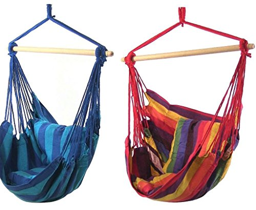 Sunnydaze Hanging Hammock Swing for Indoor/Outdoor (Set of 2), Sunset/Oasis - Universal Chaise Cushion Canvas