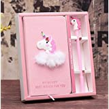 Cute Unicorn Stationery Diary Notebook and Pen, Journal Set,Gifts for Girls. (Pink)