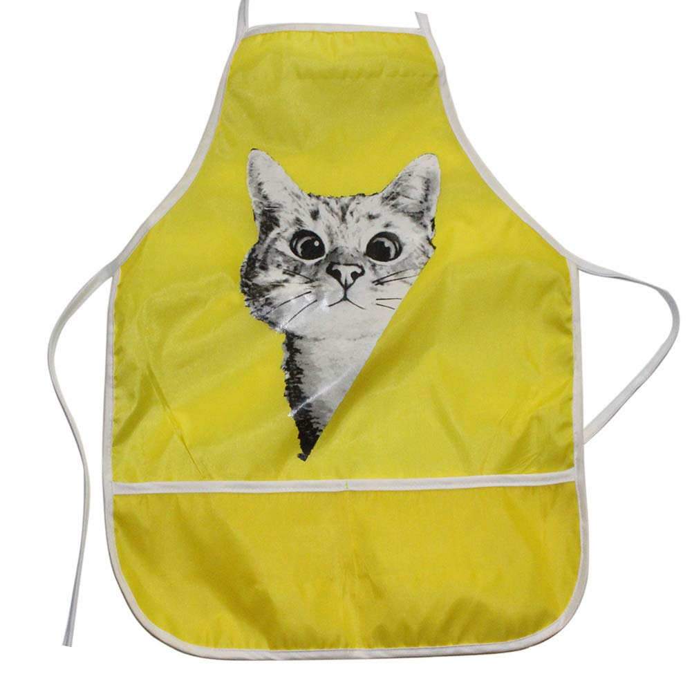 Little rock Childrens Kids Toddler Waterproof Play Apron Cat Dog Tiger Printed for Eating and Painting Yellow
