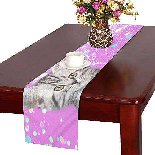 JTMOVING Shorthair Cats with Streamers and Balloons Table Runner, Kitchen Dining Table Runner 16 X 72 Inch for Dinner Parties, Events, -