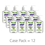 PURELL NATURALS Advanced Hand Sanitizer Gel, with Skin Conditioners and Essential Oils, 12 fl oz Counter Top Pump Bottle (Case of 12) - 9629-12