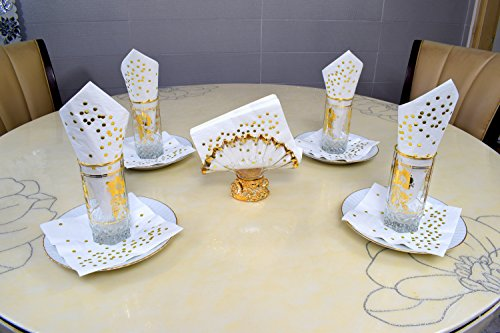 TROLIR Cocktail Napkins, White with Gold Dots, 3-ply, Pack of 50 Disposable Paper Napkins 4.9x4.9 inch Stamped with Sparkly Gold Foil Dots, Ideal for Wedding, Party, Birthday, Dinner, Lunch, Cocktail by TROLIR (Image #7)