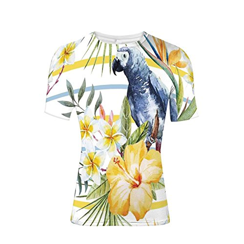 T-Shirt Short Sleeves,Pattern with Parrot Orchids and Hibiscus Flowers,Mens Cool 3D ()