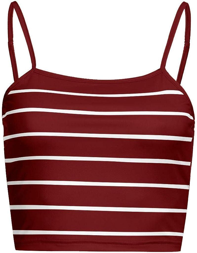 VANSOON Womens Casual Basic Stripe Spaghetti Strap Tube Crop Cami Tank Top Sleeveless Blouses Tunics Sports Shirts Vest