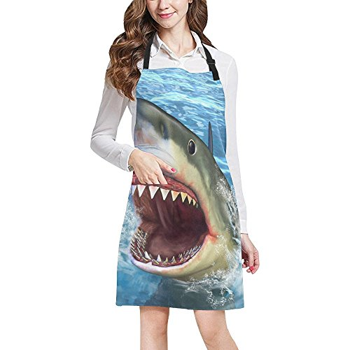 InterestPrint Cool Animal White Shark Jumping out of Sea Home Kitchen Apron for Women Men with Pockets, Unisex Adjustable Bib Apron for Cooking Baking Gardening, Large Size by InterestPrint