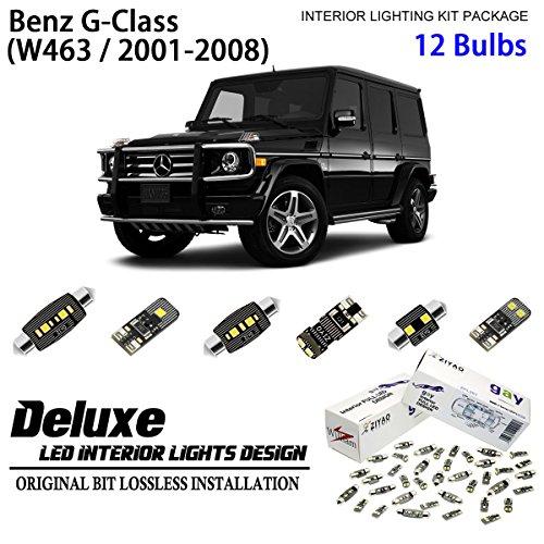 ZIYO ZPL5631 (12 Bulbs) Deluxe Xenon White LED Interior Dome Light Kit For 2001-2008 Mercedes Benz G Class W463
