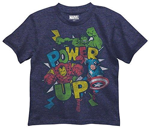 Marvel Boys' Little Boys' Avengers T-Shirt, Navy Heather, 5/6