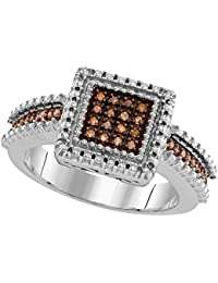 925 Sterling Silver Round Chocolate Brown Diamond Square Cluster Ring (1/6 Cttw)