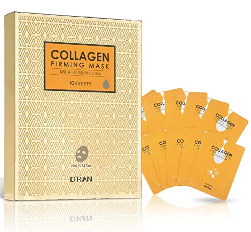 D'ran Collagen Lifting Korean Sheet Masks, 10 MASKS Made in Korea, Hydrates & Nourishes for Firmer, Smoother, More Youthful Skin; K-Beauty Anti Aging Product with 10% Collagen, 19 Amino Acids -