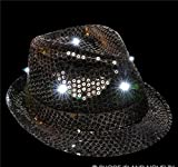 LIGHT-UP BLACK SEQUINED FEDORA, Case of 36