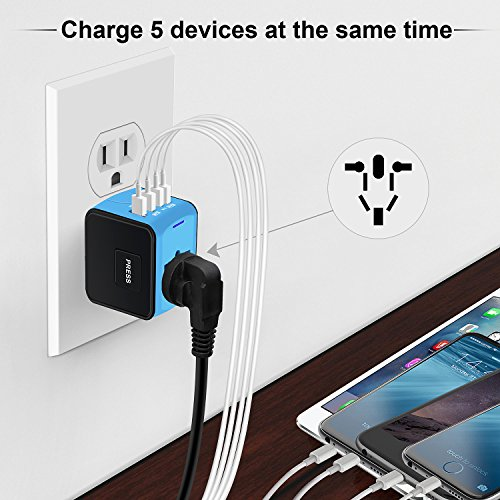 Universal Travel Adapter, International Power Adapter with 4 USB,European Adapter for UK,US,AU,India 150+ Countries,All in One Travel Plug Adapter for iPhone, Android,All USB Devices by HUANUO (Image #5)