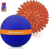 zen energy - Epitomie Fitness Zen Energy Pro Massage Balls - Large Ball For Massage & Large Spiky Reflexology Ball Makes Perfect Roller Ball Massager Set For Self Massages & Myofascial Release - Navy & Orange