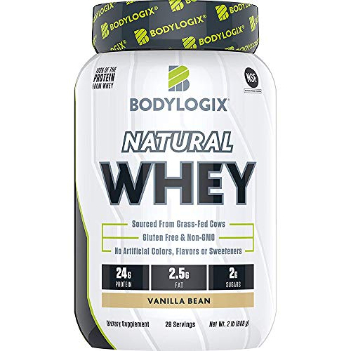 Bodylogix Natural Grass-Fed Whey Protein Powder, NSF Certified, Vanilla Bean, 2 Pound