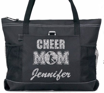 Silver Glitter CHEER Mom with Custom Cheer Name Sports Tote