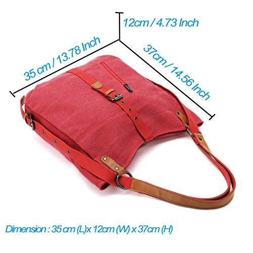 Handbags Grils Vfevrs Shoulder Rucksack Red Fashion Women Canvas Capacity Multi Backpack Large Ladies Bag Function for Uqwf7xnIxX