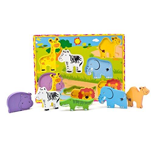 Toymytoy Puzzle Di 7 Animali In Legno Con Giraffa Elefante
