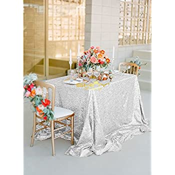 Great SILVER SEQUIN TABLECLOTH, Silver Wedding Tablecloth, Silver Glitter  Tablecloth, Silver Sparkly Tablecloth,