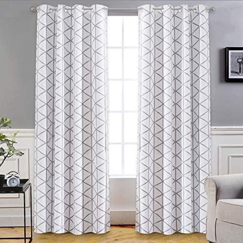 DriftAway Raymond Geometric Triangle Trellis Pattern Lined Thermal Insulated Blackout Grommet Energy Saving Window Curtains 2 Layers 2 Panels Each 52 Inch