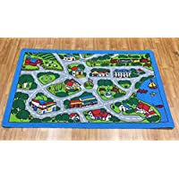 Kids Area Rug (Street Map Grey) Paradise (5ftx7ft)