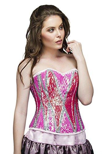 作業結婚した電圧Red Pink Satin Sequins Goth Burlesque Waist Training Bustier Overbust Corset Top