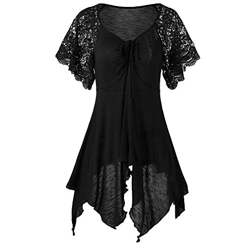 Women Bandage High Waist Short Sleeve Lace Floral Patchwork Irregular Hem Mini Dress Blouse Tops - LONGDAY -