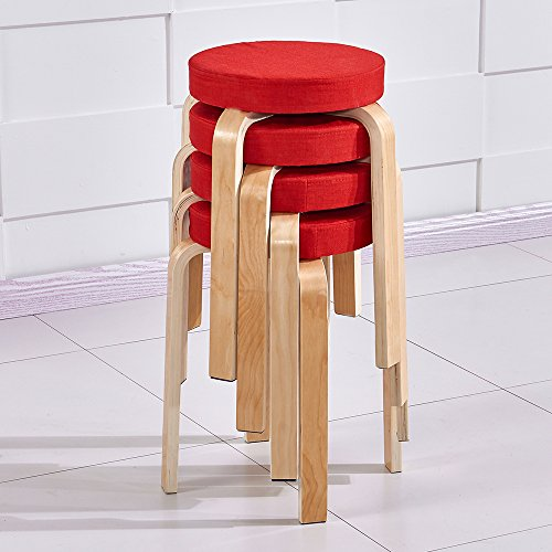 Ospi Set of 4 BentWood Stacking Stools with Padded Seat, 17 inch Home Furniture Decor (Red)
