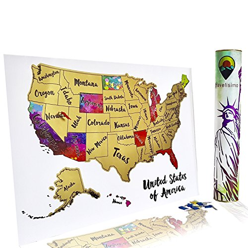 Scratch Off Map of The United States - 12x17 US Watercolor Poster for Road Trip - USA Travel Accessories - with 10 Flags for Next Visited States