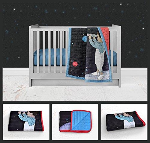 Space watching Modern Baby Bedding Nursery Bedding Colorful Navy Blue Red Black Space Nursery Handmade Crib or Toddler