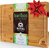 : EXTRA LARGE Organic Bamboo Cutting Board with Juice Groove - Best Kitchen Chopping Board for Meat (Butcher Block) Cheese and Vegetables | Anti Microbial Heavy Duty Serving Tray w/ Handles - 18 x 12