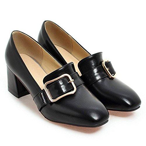 1 Chunky Carré Black Taoffen Escarpins Bowknot Orteil Femmes vxUwwq7Pca