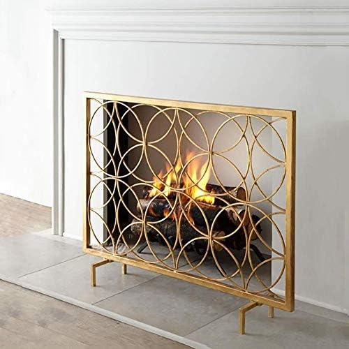 暖炉スクリーン 大型フラット暖炉スクリーン赤ちゃん安全、メッシュと丈夫な鍛造アイアンファイアスパークガード、無料立ちゲートスパークガードカバー (Color : Gold)
