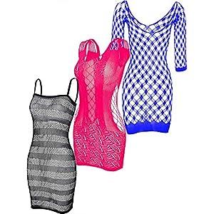 3 Pièces Robes en Résille Robes Lingerie Résille Vêtements de Nuit Résille Creux pour Faveur des Femmes