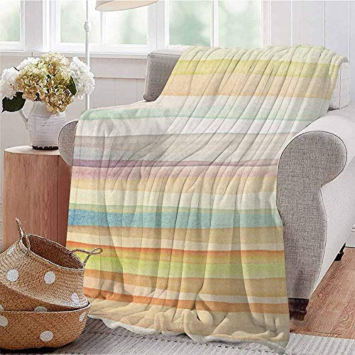 Luoiaax Pastel Luxury Special Grade Blanket Horizontal Watercolors Stripes Acrylic Artistic Elements Liquid Brushstrokes Print Multi-Purpose use for Sofas etc. W60 x L50 Inch Multicolor