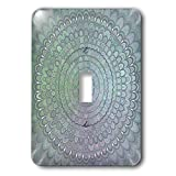 3dRose David Zydd - Floral Mandalas - Green Silver Flower Mandala - abstract floral graphic - Light Switch Covers - single toggle switch (lsp_287232_1)
