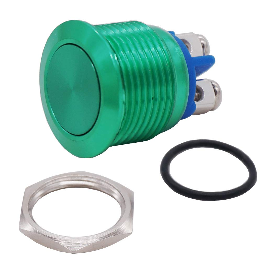 Twidec 16mm Waterproof Blue Metal Shell Momentary Flat Push Button Switch 3A//250V AC SPST 1NO Start Button for car Modification Switch M-16-BU-P