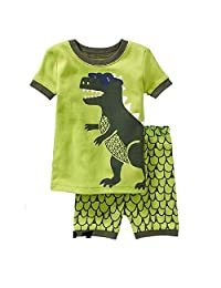 Hooyi Baby Boy Dinosaur Sleepwear Cotton Short Sleeve Pajamas Set