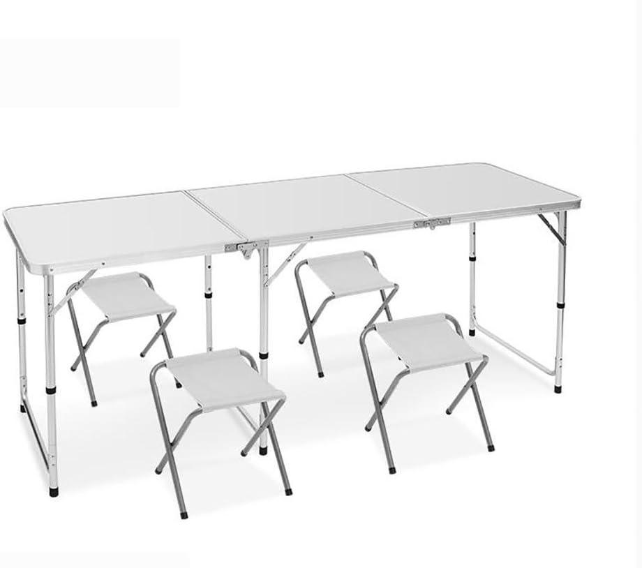 MIAO Exterior Simple alargar Portable 180 cm * 60 cm de aleación de Aluminio Picnic mesas Plegables y sillas