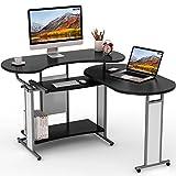 L-Shaped Computer Desk, LITTLE TREE Rotating Modern Corner Desk & Office Study Workstation, for Home Office or Living Room (Black)