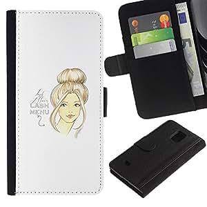 For Samsung Galaxy S5 Mini(Not S5), SM-G800 Case , Art Design Woman Hair Portrait - la tarjeta de Crédito Slots PU Funda de cuero Monedero caso cubierta de piel