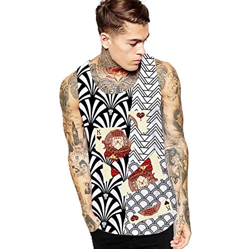 YANWENFANG Men Tank Top Graphic Print Funny Undershirt Beach Running (Art Print Tank Top)