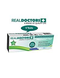 REAL DOCTORS 5 Early Detection Pregnancy Tests Easy To Use At Home, HCG detection in Urine Highly Sensitive Midstream Test + Fast Results Free E-Book on Safe Days + Diet 99% Accurate Or Your Cash Back